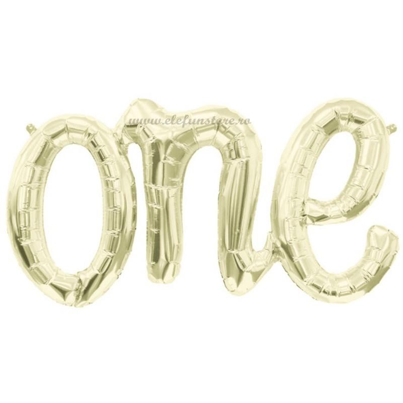 Balon Scris ONE Auriu Sampanie 100cm