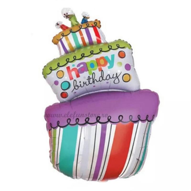 Balon Tort Happy Birthday cu Dungi 90cm