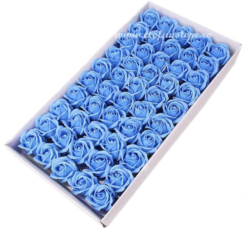 Set 50 Trandafiri de Sapun Bleu Pastel
