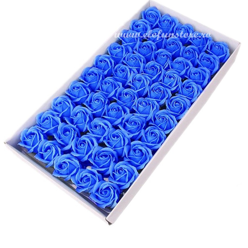 Set 50 Trandafiri de Sapun Albastru Deschis