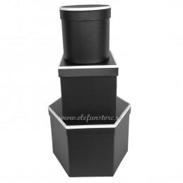 Set 3 cutii negre cu muchii albe