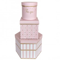 Set 3 cutii roz cu dungi albe