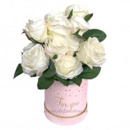 Buchet 12 trandafiri ivoire 45 cm