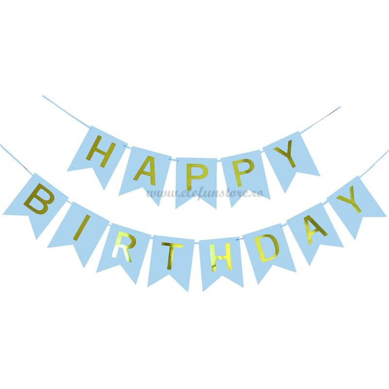 Banner Happy Birthday Bleu