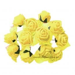 Set 144 trandafiri din spuma galbeni 2cm