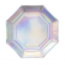 Set 8 farfurii Iridiscente hexagonale 23cm