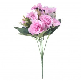 Buchet trandafirasi si floricele roz 30cm