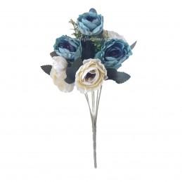 Buchet ranunculus bleu si crem 30cm