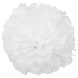 Floare Pom Pom Alba 35 cm