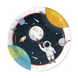 Set 8 farfurii Space Party Astronaut 23 cm