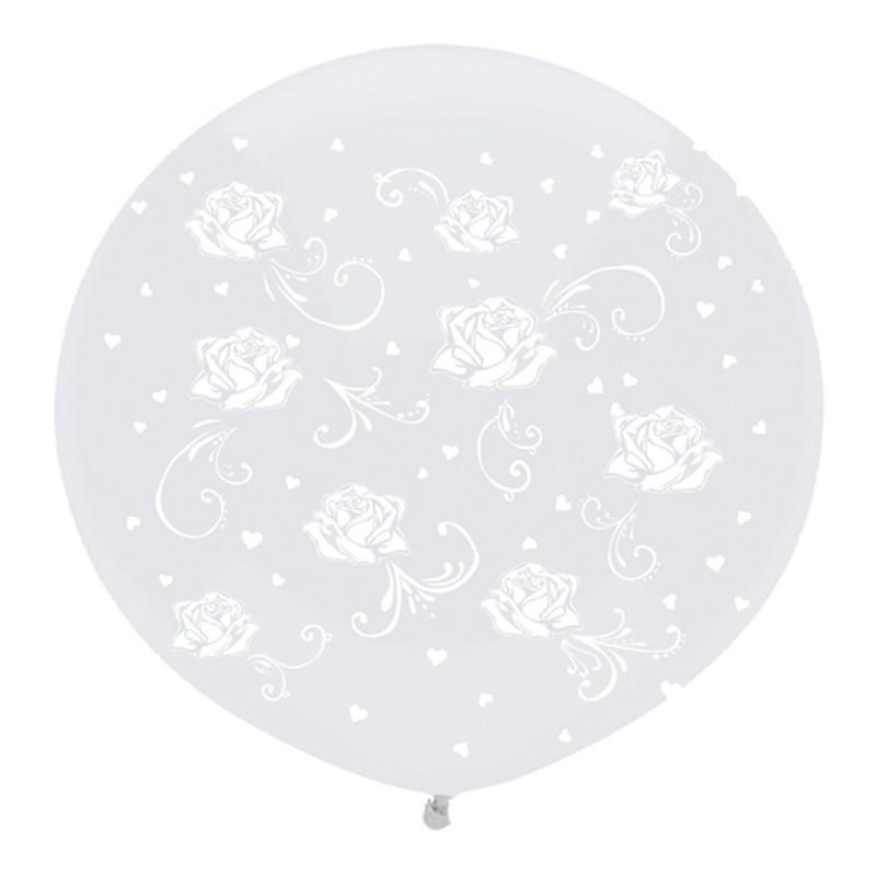 Balon Jumbo Transparent cu Trandafirasi Albi