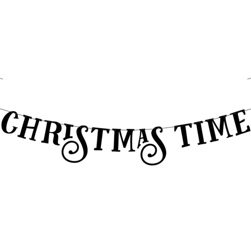 Banner Christmas Time Negru