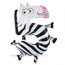 Balon Cifra 5 Zebra 45 cm