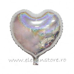 Balon Inima Holograma Argintie 45cm