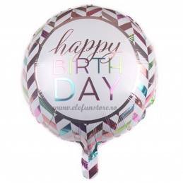 Balon Happy Birthday Chevron Pastel