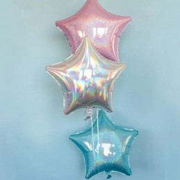 Balon Stea Iridiscenta Bleu 45cm