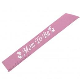 Banderola Mom To Be Roz cu Sclipici