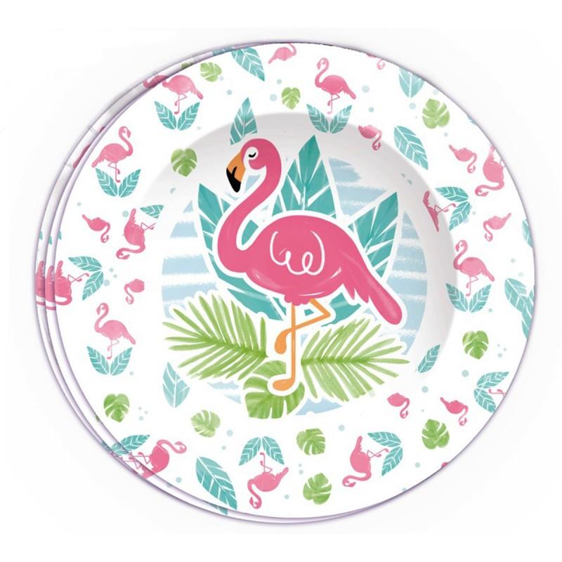 Set 8 farfurii Flamingo Party 23cm