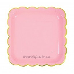 Set 6 farfurii patrate roz 23 cm cu volanase aurii