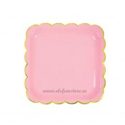 Set 6 farfurii patrate roz 18 cm cu volanase aurii