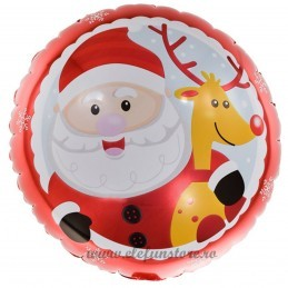 Balon Rotund Mos Craciun si Rudolf