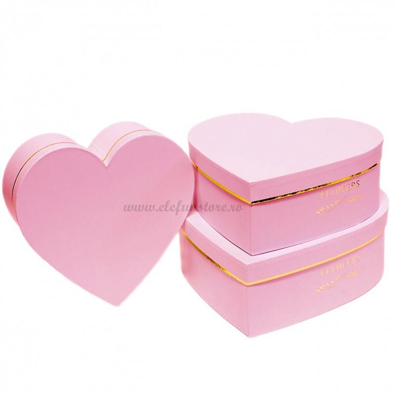 Set 3 cutii inima roz Flowers