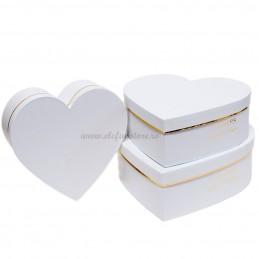 Set 3 cutii inima albe Flowers