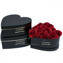 Set 3 cutii inima negre Flowers