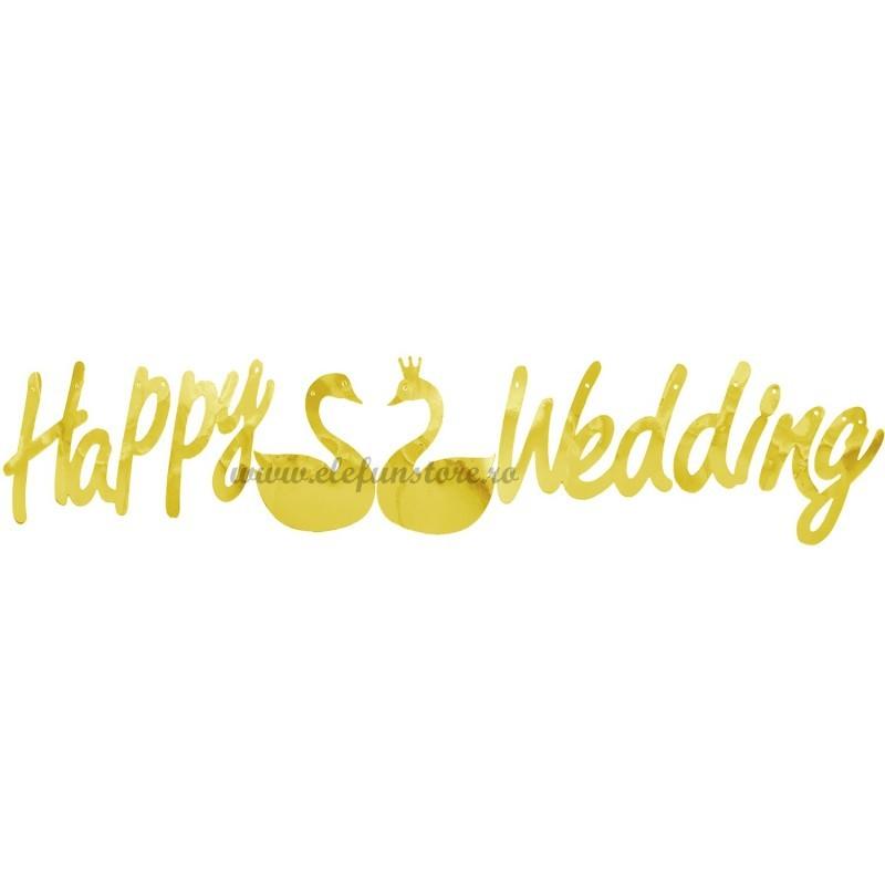 Banner Happy Wedding Auriu
