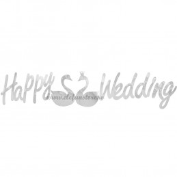 Banner Happy Wedding Argintiu
