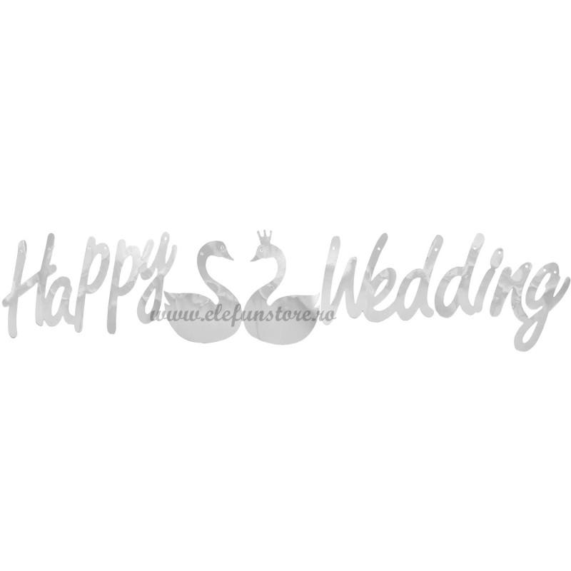 Banner Happy Wedding Argintiu