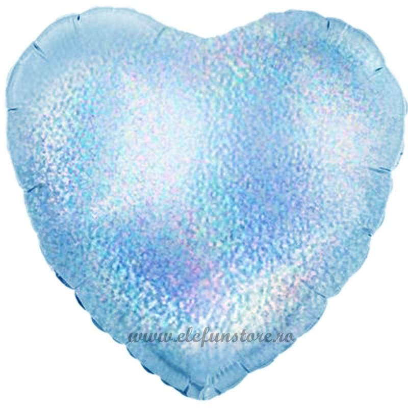 Balon Inima Holografica Bleu 45cm