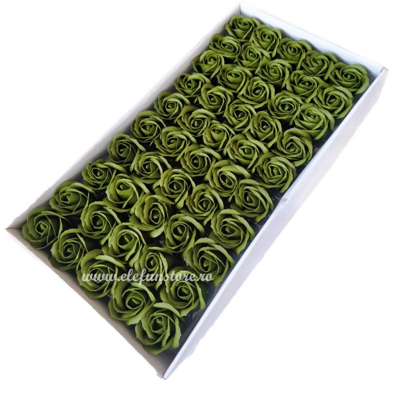 Set 50 Trandafiri de Sapun Verde Olive
