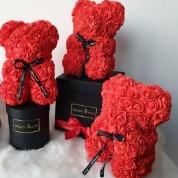 Ursulet din trandafiri rosii 40 cm + cutie cadou