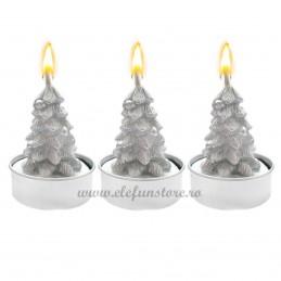 Set 3 Lumanari Bradut Argintiu