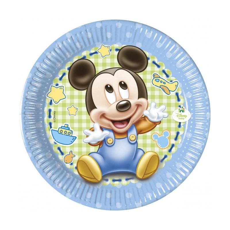 Set 8 farfurii Baby Mickey Mouse 20 cm