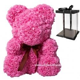 Ursulet din trandafiri roz 40 cm + cutie cadou