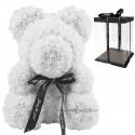 Ursulet din trandafiri albi 40 cm + cutie cadou