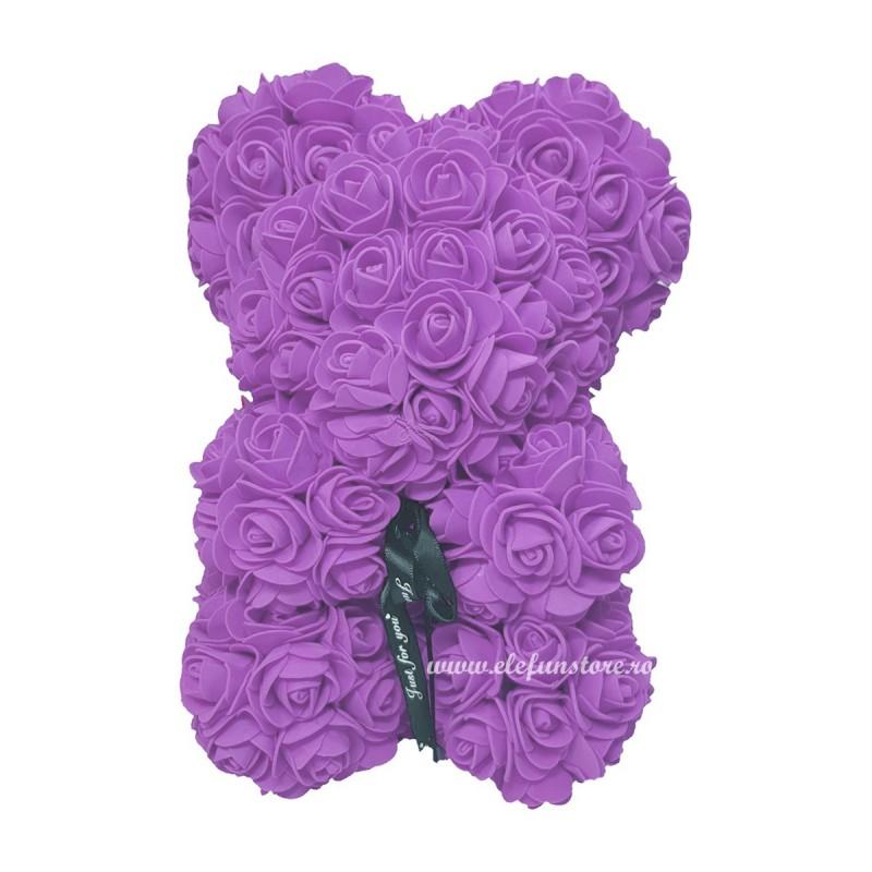 Ursulet din trandafiri lila 25 cm