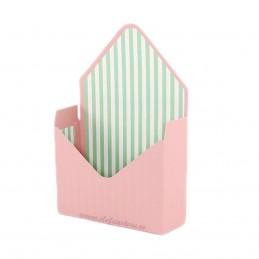 Cutie tip plic roz cu dungi albe si aqua