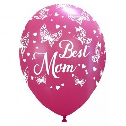 Set 10 baloane Best Mom cu fluturasi