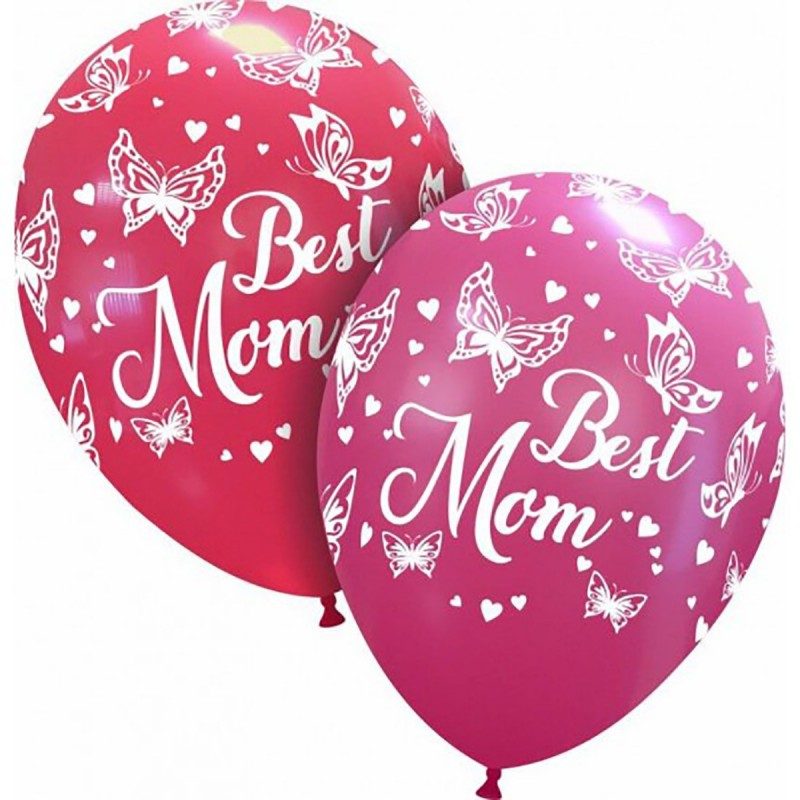 Set 10 baloane Best Mom cu fluturasi