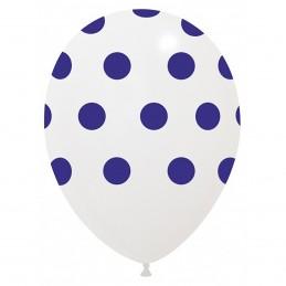 Set 10 Baloane Albe cu buline Albastre