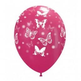 Set 10 baloane multicolore cu fluturasi