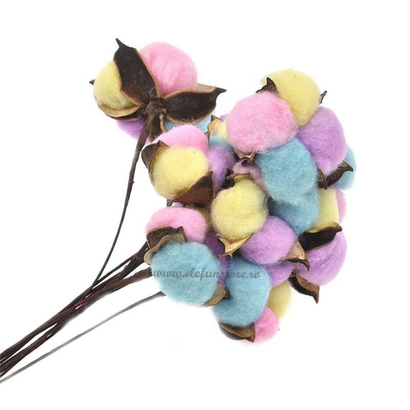 Set 10 Flori de Bumbac Colorat 32cm