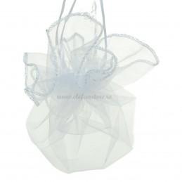 Saculet organza disc alb, 25 cm diametru