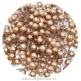 Set 100 Perle Aurii 10 mm, cu sarma