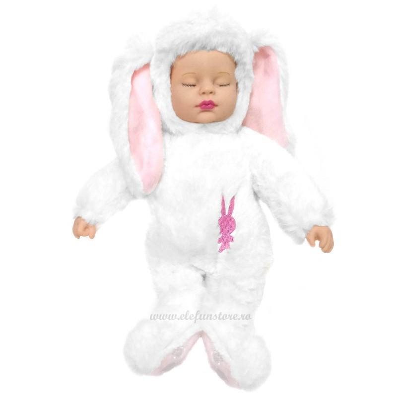 Bebelus iepuras somnoros extra pufos, alb