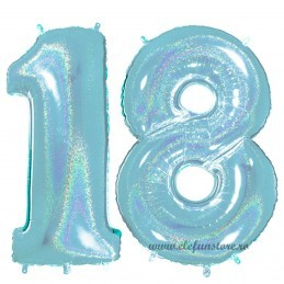 Set Cifre 18 Bleu Holografic 100 cm Majorat