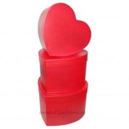 Set 3 cutii inima rosii pt flori, 22-20-18 cm